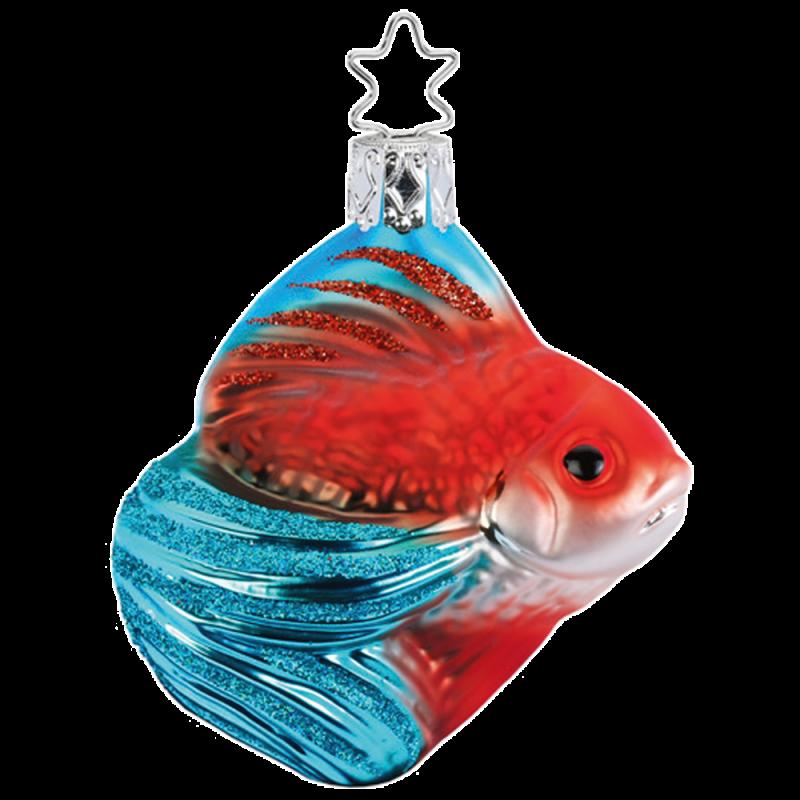Schleierfisch 7cm rot/blau Inge-Glas® und Weihnachtsschmuck