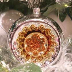 Doppelreflex Kugel Ø10/Ø4cm Schatzhauser Glas und Weihnachtsschmuck