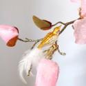 Minivogel Vögelchen 5,5cm matt weiß gold Schatzhauser - Lauschaer Glaskunst, Thüringer Weihnachtsschmuck