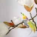 Minivogel Vögelchen 5,5cm goldgelb grün Schatzhauser - Lauschaer Glaskunst, Thüringer Weihnachtsschmuck
