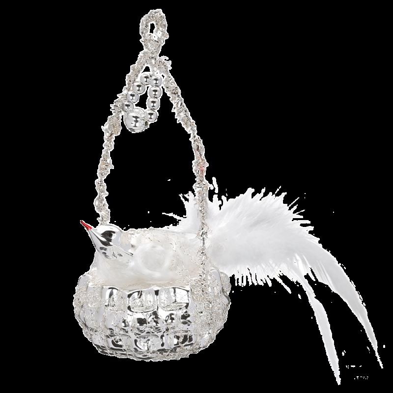 Vogelnest 11cm Inge-Glas® Nostalgischer Weihnachtsschmuck