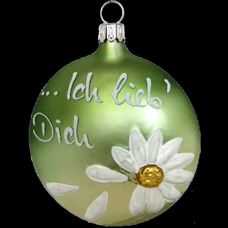 Ich lieb' Dich Taler 8cm Inge-Glas® Weihnachtsschmuck