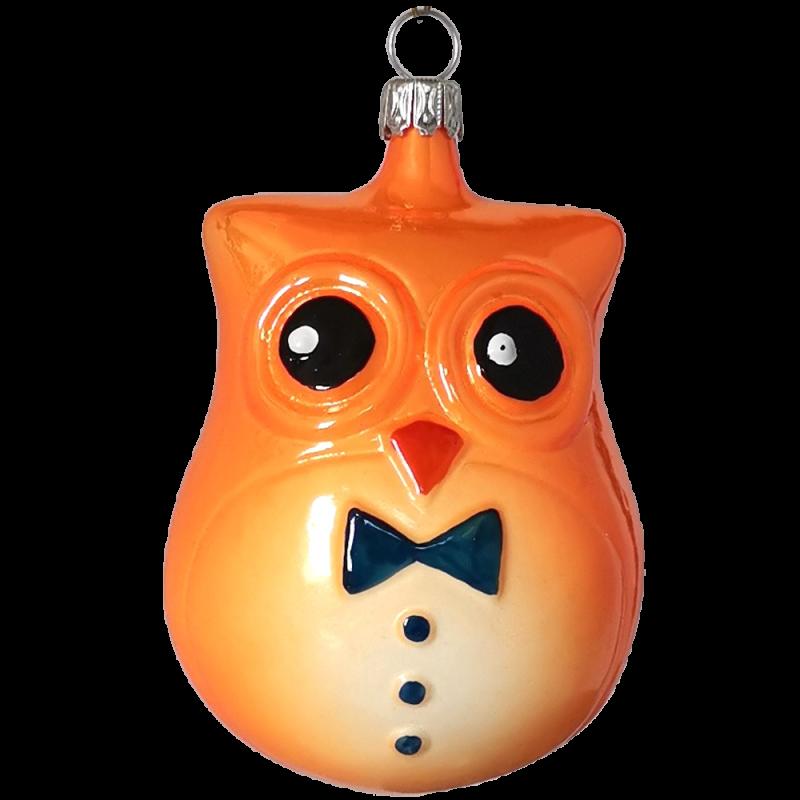 Erna Eule 9cm orange Inge-Glas® Schmuck Weihnachtsschmuck