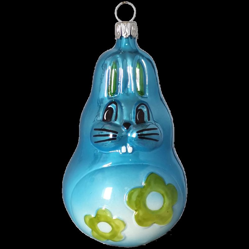Herbert Hase 10cm blau Inge-Glas® Schmuck Weihnachtsschmuck