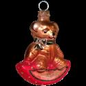 Teddybär mit Wippe 7cm Schatzhauser Thüringer Glas und Weihnachtsschmuck