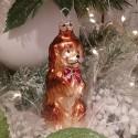 Hund mit roter Schleife 8,5cm Schatzhauser Thüringer Glas und Weihnachtsschmuck