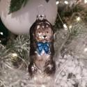 Hund mit blauer Schleife 8,5cm Schatzhauser Thüringer Glas und Weihnachtsschmuck