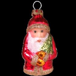 kleiner Weihnachtsmann mit Baum 7cm Schatzhauser Thüringer Glas und Weihnachtsschmuck