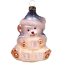 Babyteddy blaue Mütze 8,5cm Schatzhauser Thüringer Glas und Weihnachtsschmuck