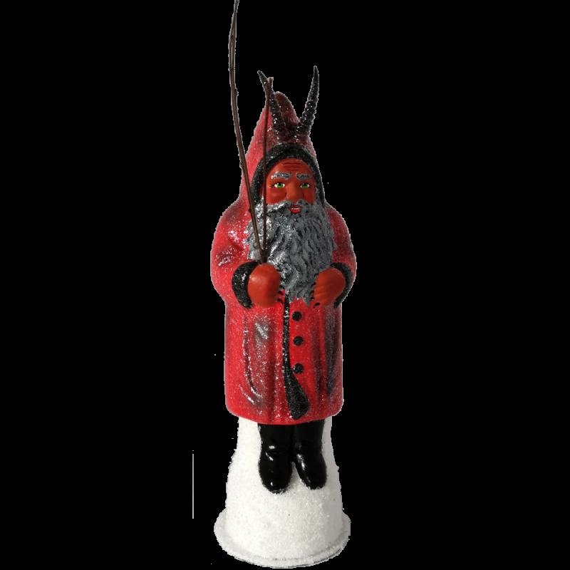 Santa Krampus 26cm Pappmaché rot/schwarz Nostalgischer Weihnachtsschmuck