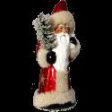 Santa burgund 26cm Pappmaché Gansfederrute Nostalgischer Weihnachtsschmuck