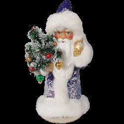 Väterchen Frost mit Gansfederbaum blau 40cm Pappmaché Nostalgischer Weihnachtsschmuck