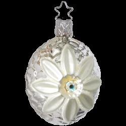 Blüte silbern viktorianisch 6cm Inge-Glas® Nostalgischer Weihnachtsschmuck