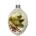 Grünfink Kleeblatt Glücks Ornament 6cm silberweiß matt Schatzhauser - Lauschaer Glaskunst, Thüringer Weihnachtsschmuck