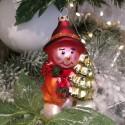 Schneemann sitzend mit Baum 10cm Schatzhauser Thüringer Glas und Weihnachtsschmuck