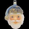 Santa Kopf blau 11,5cm Schatzhauser Glas und Weihnachtsschmuck