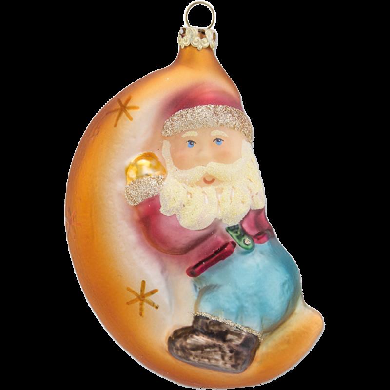 Santa im Mond 11cm Schatzhauser Glas und Weihnachtsschmuck
