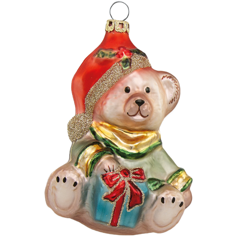 Teddy 9cm Mütze orange Schatzhauser, Thüringer Glas und Weihnachtsschmuck