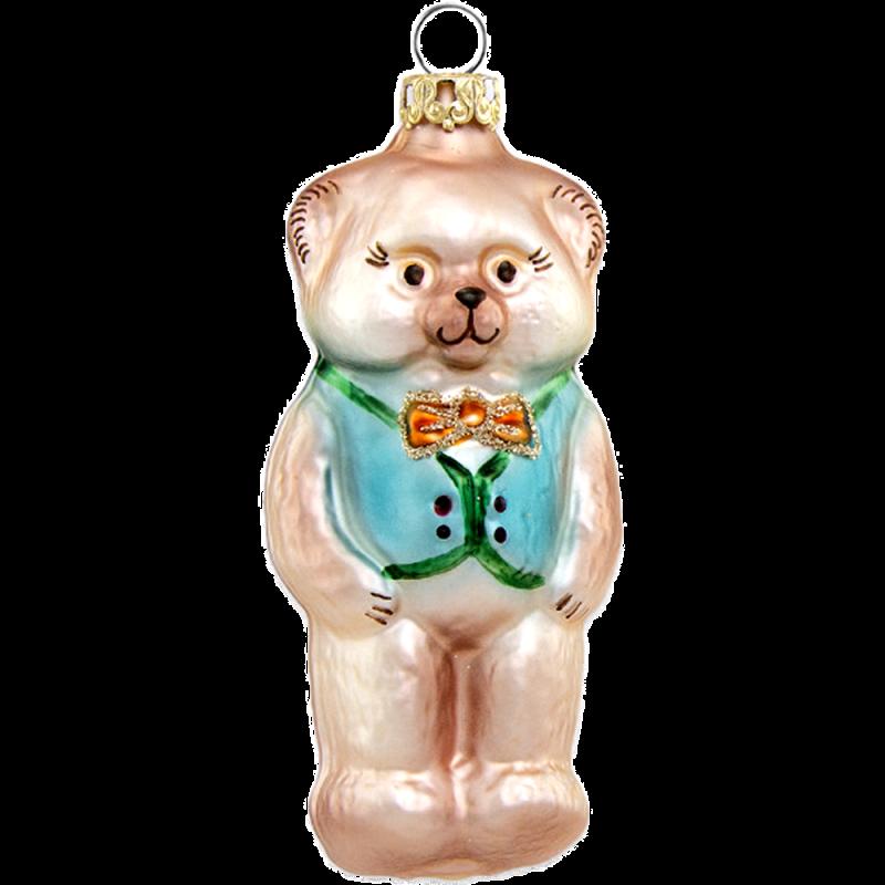 kleiner Bär mit blauer Weste 8cm Schatzhauser Thüringer Glas und Weihnachtsschmuck