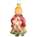 Puppe mit Teddy 8,5cm Schatzhauser Thüringer Glas und Weihnachtsschmuck