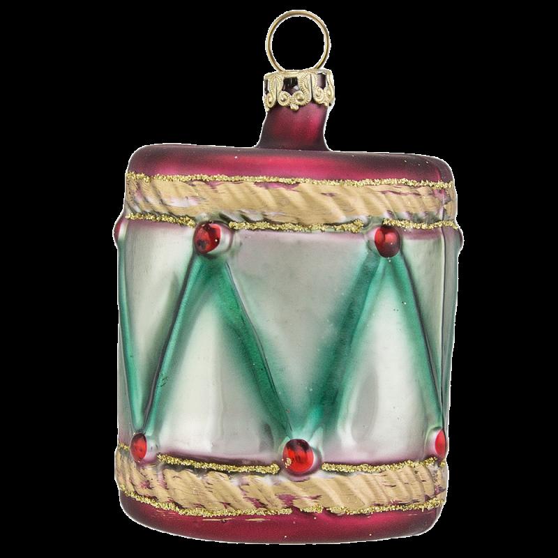 Trommel burgund Ø 5cm Schatzhauser Thüringer Glas und Weihnachtsschmuck