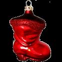 Stiefel uni rot 8cm Schatzhauser Glas und Weihnachtsschmuck