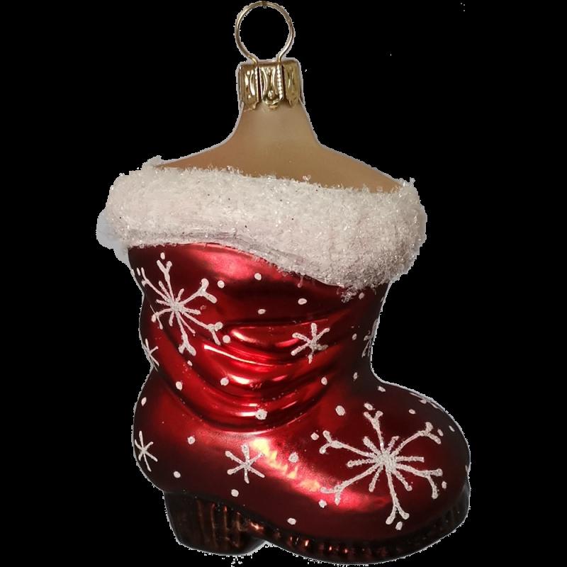 Stiefel mit Schneeflocken 8cm Schatzhauser Glas und Weihnachtsschmuck