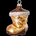 Stiefel gold 8cm Schatzhauser Glas und Weihnachtsschmuck
