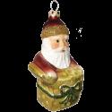 Weihnachtsmann mit grünem Geschenk 11cm Schatzhauser Thüringer Glas und Weihnachtsschmuck