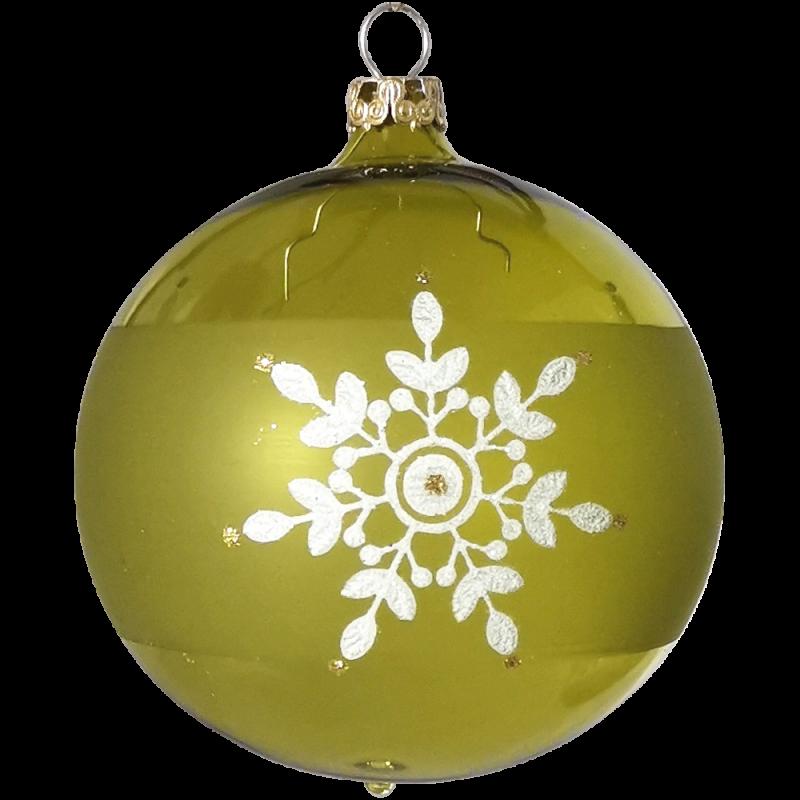 Weihnachtskugel moosgrün transparent Ø 8cm Thüringer Glas Weihnachtsschmuck