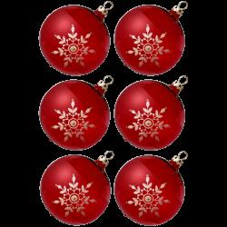 Weihnachtskugeln Set, 6 rote Kugeln Ø 8cm Kristallblüten, Thüringer Glas Weihnachtsschmuck