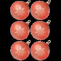 Weihnachtskugeln Set, 6 hummer Kugeln Ø 8cm Kristallblüten, Thüringer Glas Weihnachtsschmuck
