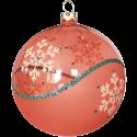 Weihnachtskugeln Set, 6 hummerfarbige Kugeln Ø 8cm Kristallwelle, Thüringer Glas Weihnachtsschmuck