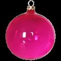 Weihnachtskugeln Set, 6 Kugeln Ø 8cm pink transparent, Thüringer Glas Weihnachtsschmuck