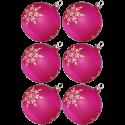 Weihnachtskugeln Set, 6 pink Kugeln Ø 8cm Kristallblüten, Thüringer Glas Weihnachtsschmuck