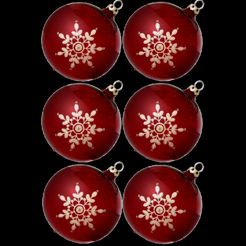 Weihnachtskugeln Set, 6 stierblut Kugeln Ø 8cm Kristallblüten, Thüringer Glas Weihnachtsschmuck