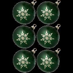 Weihnachtskugeln Set, 6 tanne Kugeln Ø 8cm Kristallblüten, Thüringer Glas Weihnachtsschmuck