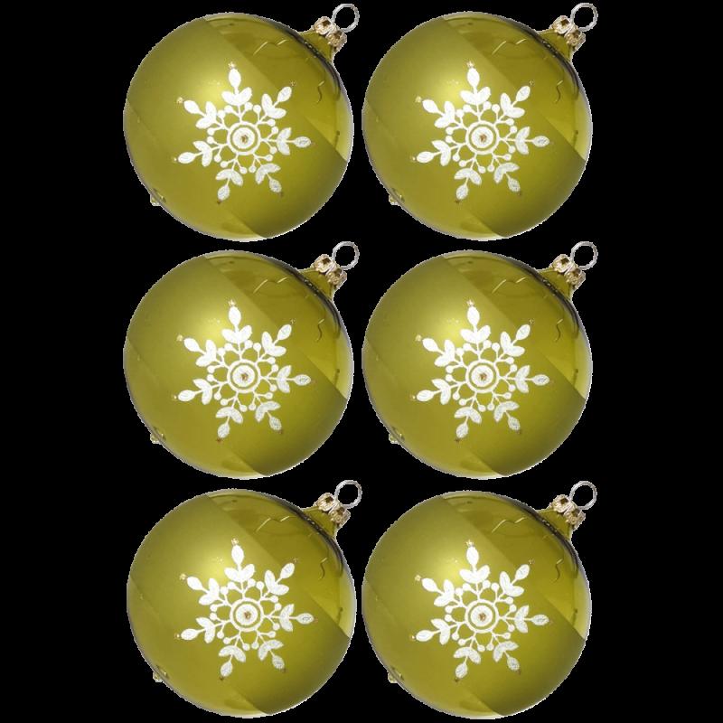 Weihnachtskugeln Set, 6 moosgrün Kugeln Ø 8cm Kristallblüten, Thüringer Glas Weihnachtsschmuck