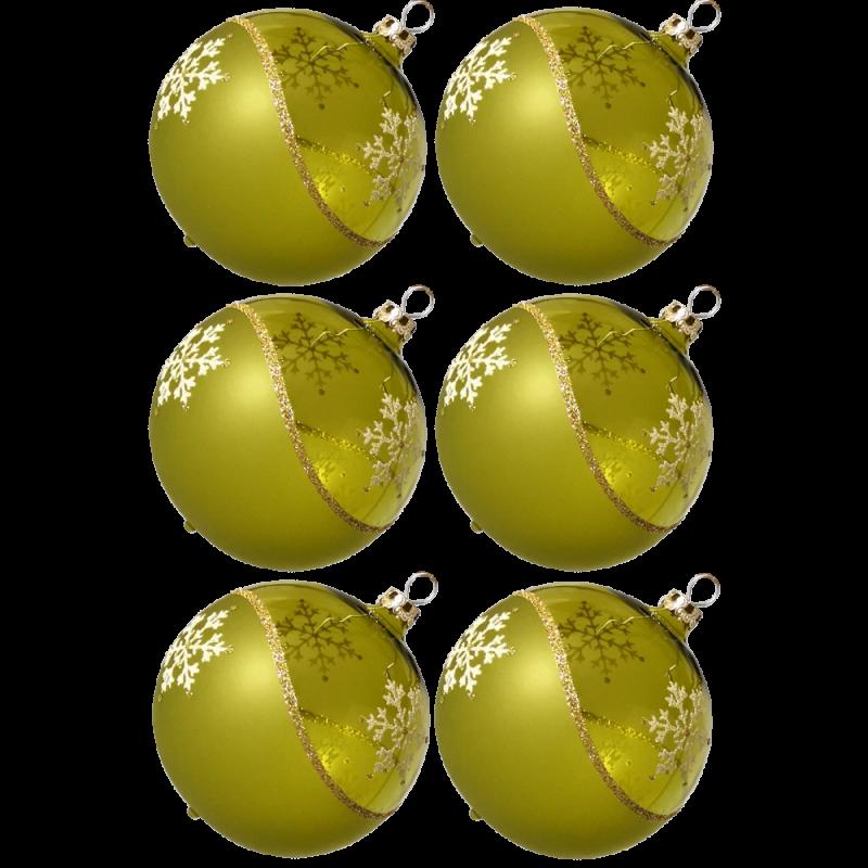 Weihnachtskugeln Set, 6 moosgrün Kugeln Ø 8cm Kristallwelle, Thüringer Glas Weihnachtsschmuck