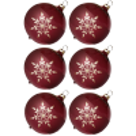 Weihnachtskugeln Set, 6 malve Kugeln Ø 8cm Kristallblüten, Thüringer Glas Weihnachtsschmuck