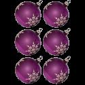 Weihnachtskugeln Set, 6 heide Kugeln Ø 8cm Kristallblüten, Thüringer Glas Weihnachtsschmuck