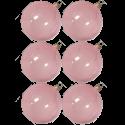 Weihnachtskugeln Set, 6 Kugeln Ø 8cm rosa transparent, Thüringer Glas Weihnachtsschmuck