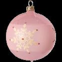 Weihnachtskugeln Set, 6 rosa Kugeln Ø 8cm Kristallblüten, Thüringer Glas Weihnachtsschmuck