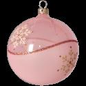 Weihnachtskugeln Set, 6 rosa Kugeln Ø 8cm Kristallwelle, Thüringer Glas Weihnachtsschmuck