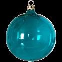 Weihnachtskugeln Set, 6 Kugeln Ø 8cm türkis transparent, Thüringer Glas Weihnachtsschmuck