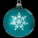 Weihnachtskugeln Set, 6 türkis Kugeln Ø 8cm Kristallblüten, Thüringer Glas Weihnachtsschmuck