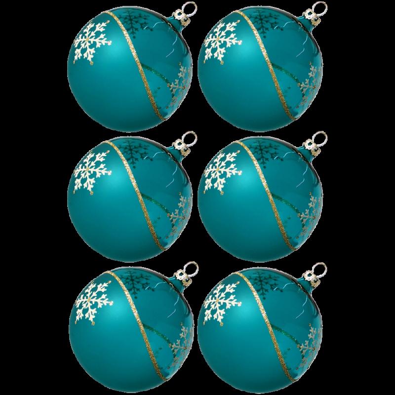 Weihnachtskugeln Set, 6 türkis Kugeln Ø 8cm Kristallwelle, Thüringer Glas Weihnachtsschmuck