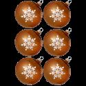Weihnachtskugeln Set, 6 gold Kugeln Ø 8cm Kristallblüten, Thüringer Glas Weihnachtsschmuck