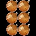 Weihnachtskugeln Set, 6 gold Kugeln Ø 8cm Kristallwelle, Thüringer Glas Weihnachtsschmuck