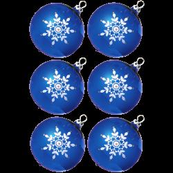 Weihnachtskugeln Set, 6 Kugeln Ø 8cm kobaltblau Kristallblüten, Thüringer Glas Weihnachtsschmuck